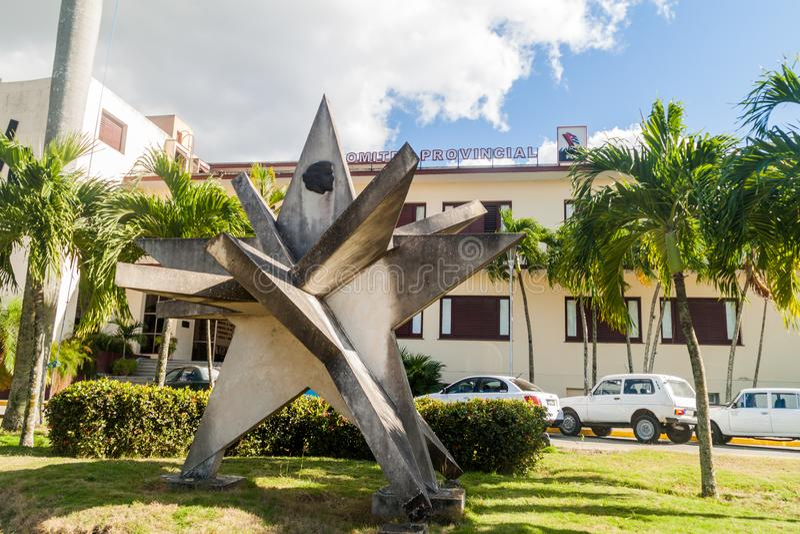 SANTA CLARA, CUBA - 13 FÉVRIER 2016 : Monument devant le Comité provincial du parti communiste en Santa Clara images libres de droits