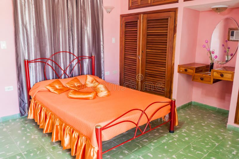 SANTA CLARA, CUBA - FEB 13, 2016: Interior of a rental room for tourists casa particular in Santa Clara, Cu. Ba royalty free stock images