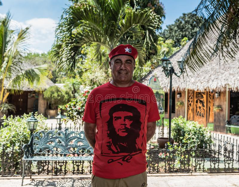 Che Guevara Look Alike. Santa Clara, Cuba / March 16, 2016: Man dressed like revolutionary Che Guevara in the city where the famous military leader is interred stock photo