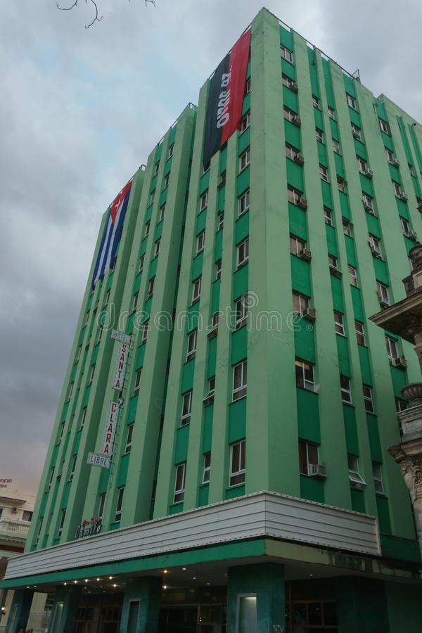 Santa Clara, Kuba, am 5. Januar 2017: Hotel-Santa Clara-Ansicht vom Freien, antikes Kino von clory und jetzt genanntem Camilo Cie lizenzfreie stockfotografie