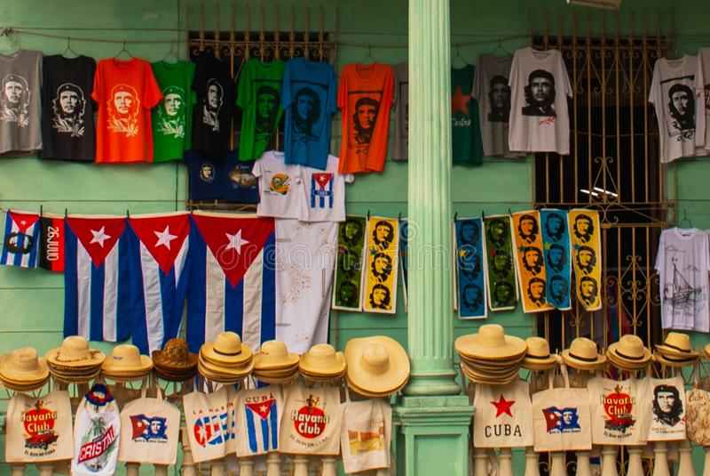 Santa Clara, Kuba: Rysować na domowym Che Guevara Bohater Kubańska rewolucja jest bohaterem narodowym wewnątrz po całym Kuba Jego zdjęcie royalty free