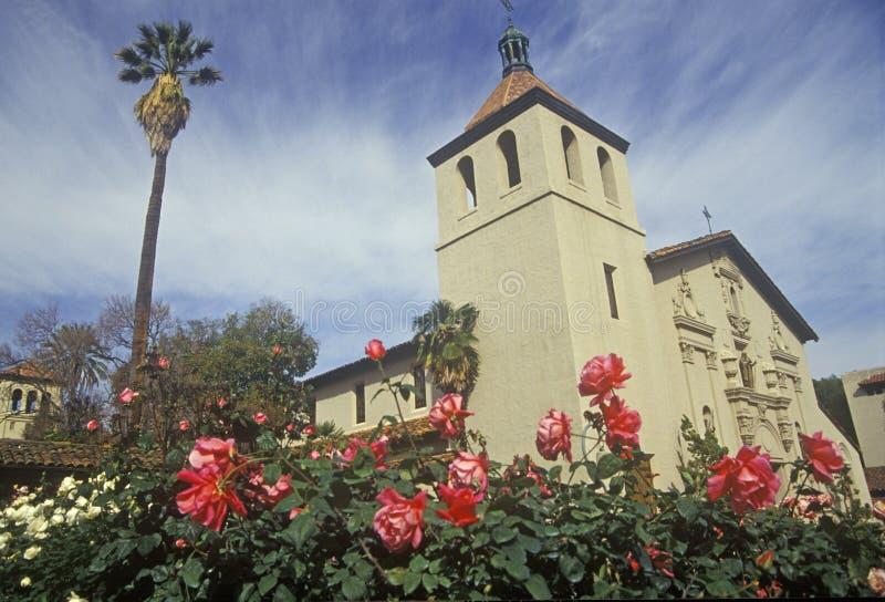 Santa Clara University historisk beskickningkyrka, beskickning Santa Clara de Asis, Santa Clara, Kalifornien arkivfoto
