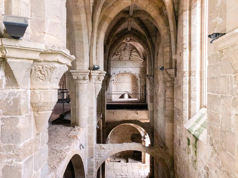 The Santa Clara a Velha Monastery, Coimbra, Portugal. Ruins of The Santa Clara a Velha Monastery, located in the city of Coimbra, Portugal, had difficulties stock images