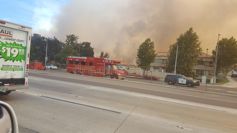 Santa Clarita Sage Fire images stock