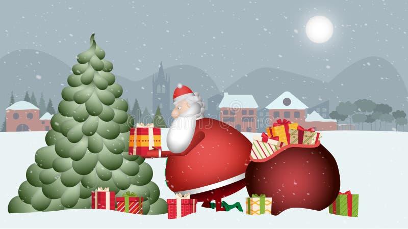 Santa Claus è molto occupata Esaminilo come prende i regali dal suo sacco rosso e li dispone sull'albero di questa bella neve illustrazione vettoriale
