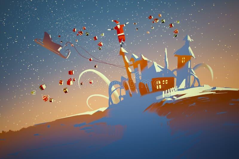 Santa Claus équilibrant sur des maisons d'imagination illustration stock