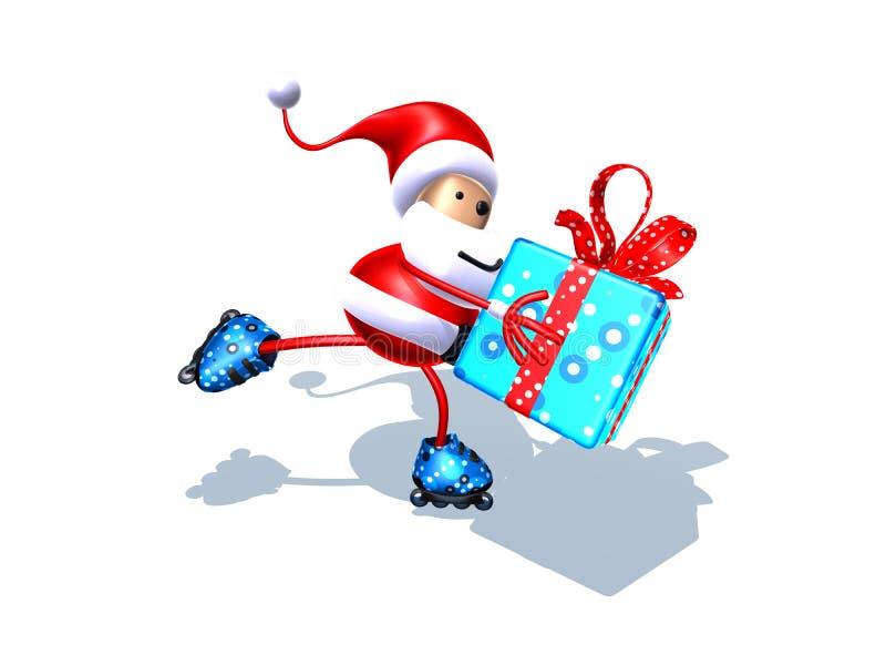 Santa claus łyżwiarstwo ilustracja wektor