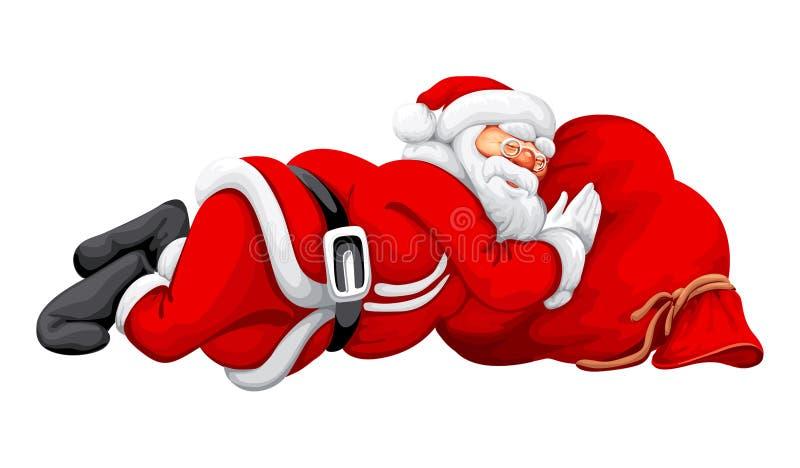 Santa claus śpi ilustracja wektor