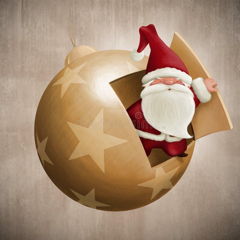 Santa Claus внутри декоративного шарика бесплатная иллюстрация