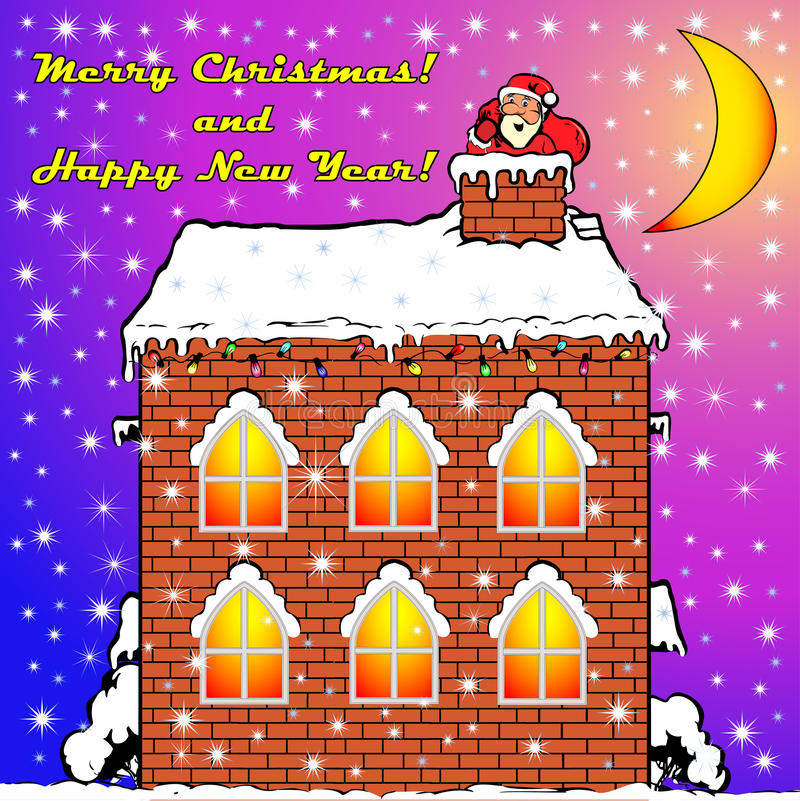 Santa Claus на крыше дома иллюстрация штока