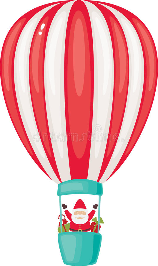 Santa Claus на airship иллюстрация вектора