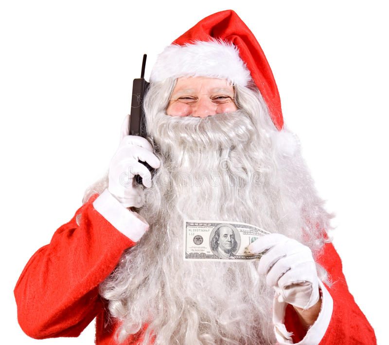 Santa Claus с телефоном стоковое изображение rf