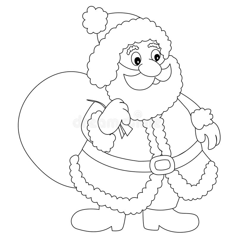 Santa Claus. Illustration / Clipart with Gift bag for coloring books vector illustration
