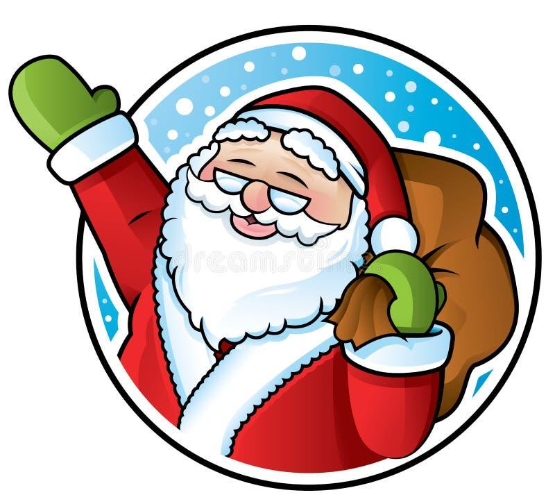 Santa Claus. Happy Santa Claus carrying a sack of Christmas presents