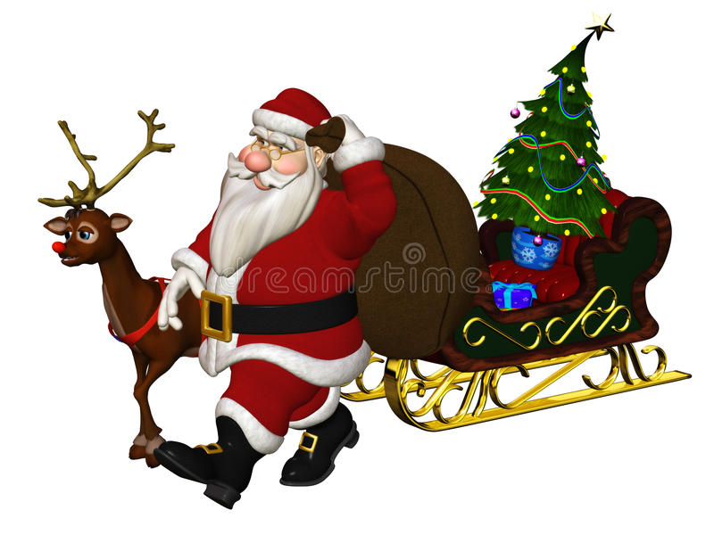 Download Santa Claus stock illustration. Image of isolated, deer - 18654757