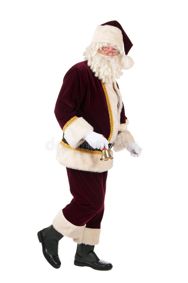 Santa Claus. The real Santa Claus with copper bell walking in studio stock photography