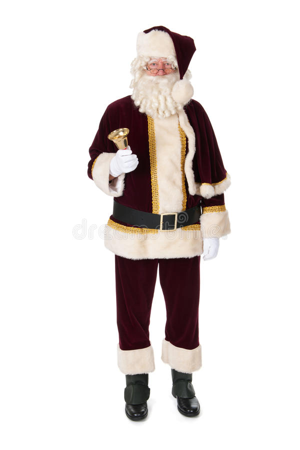 Santa Claus. The real Santa Claus with bell standing in studio stock images