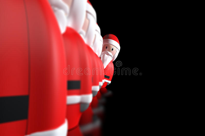 Santa Claus 3d aligned on a black background. A Santa Claus aligned in a row is displaced to watch ahead on a black background royalty free illustration