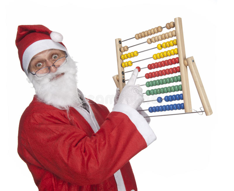 Santa Claus with an abacus stock photography