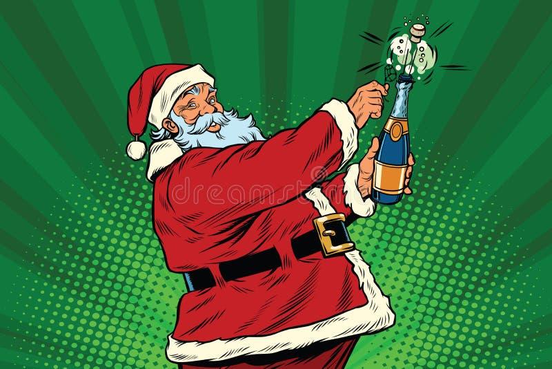 Santa Claus abre uma garrafa do champanhe ilustração do vetor