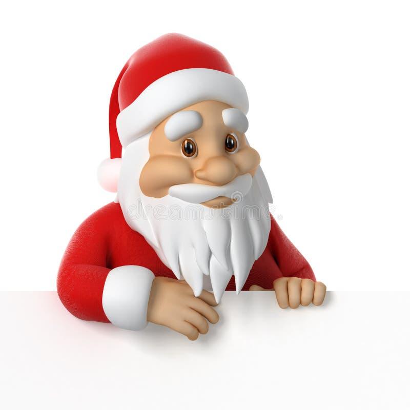 Santa Claus achter het document stock illustratie