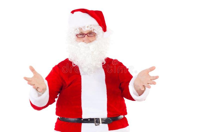 Santa Claus acoge con satisfacción a niños agradables fotografía de archivo libre de regalías