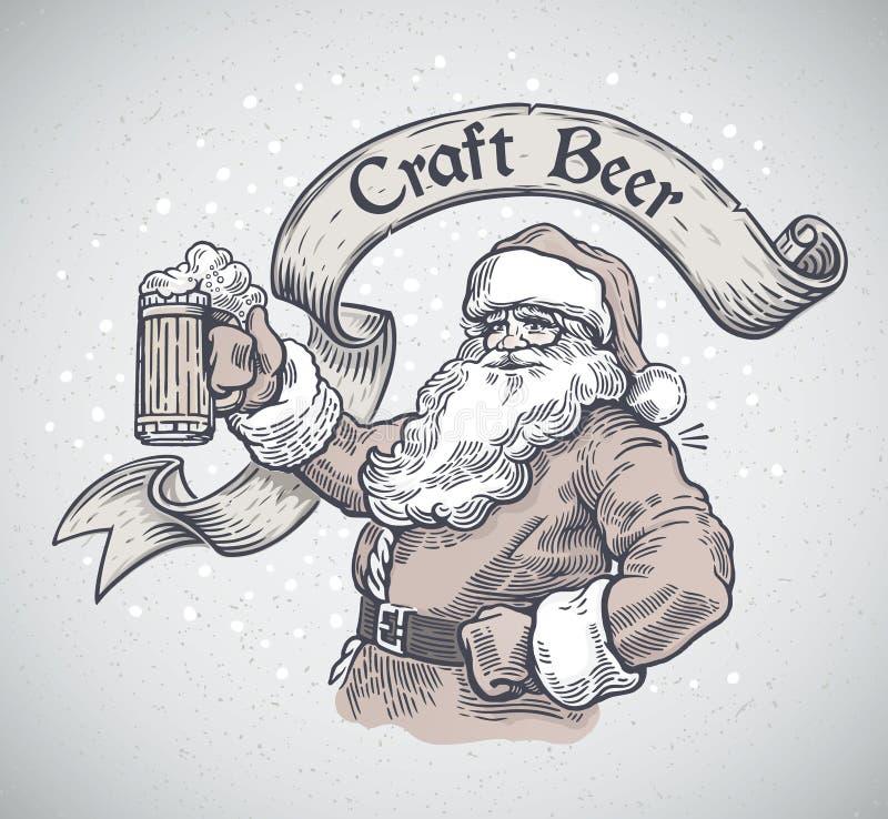 Santa Claus alegre com uma cerveja da caneca ilustração royalty free