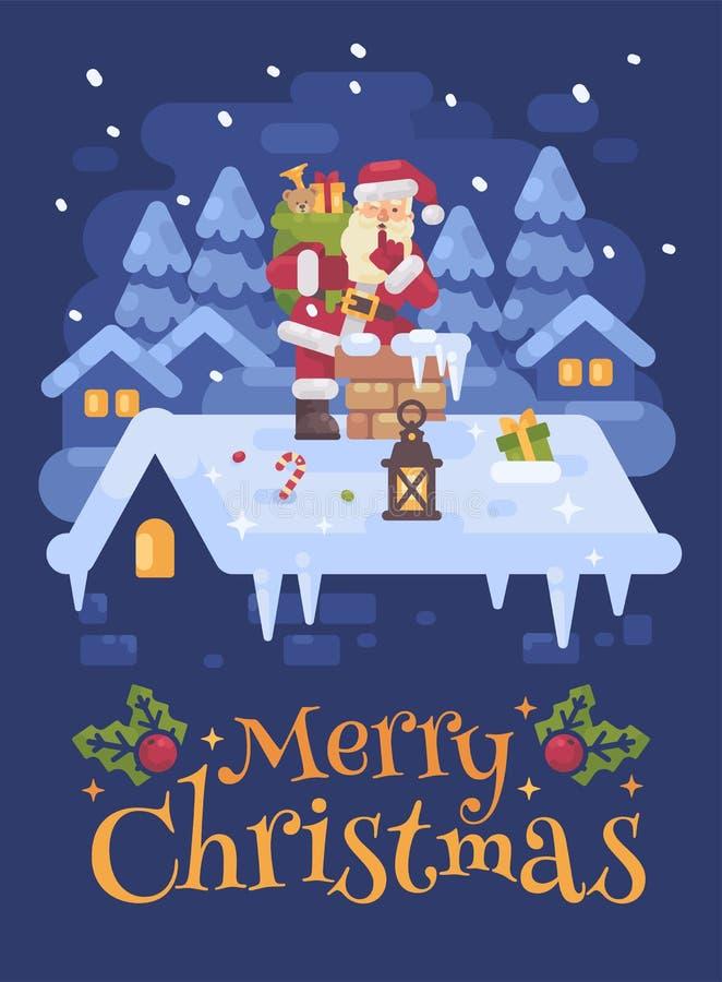 Santa Claus alegre em um telhado que escala na chaminé com um saco completo dos presentes na noite de Natal  ilustração do vetor
