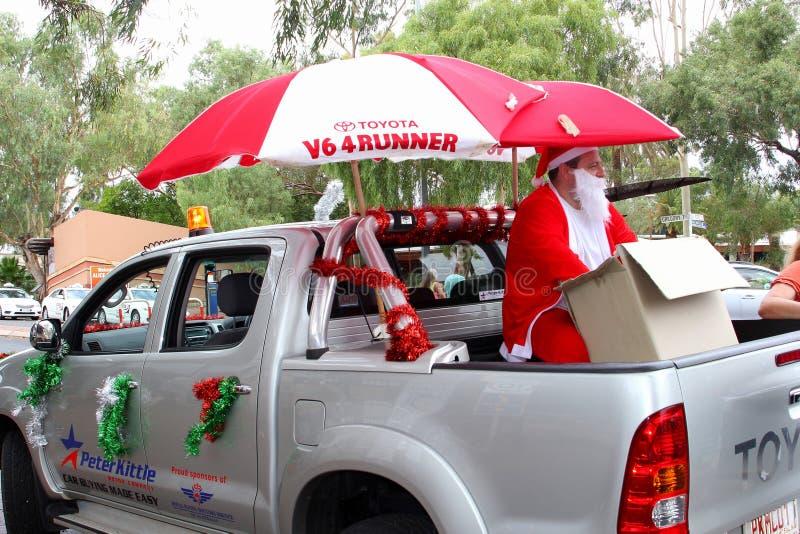 Santa Claus in Alice Springs, Australië stock afbeelding