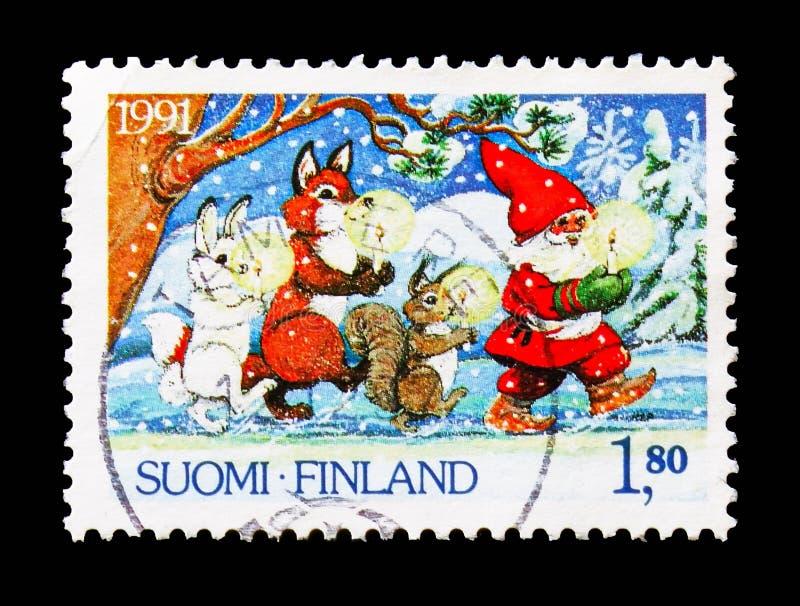 Santa Claus, animales con las velas, serie de la Navidad, circa 1991 fotos de archivo libres de regalías