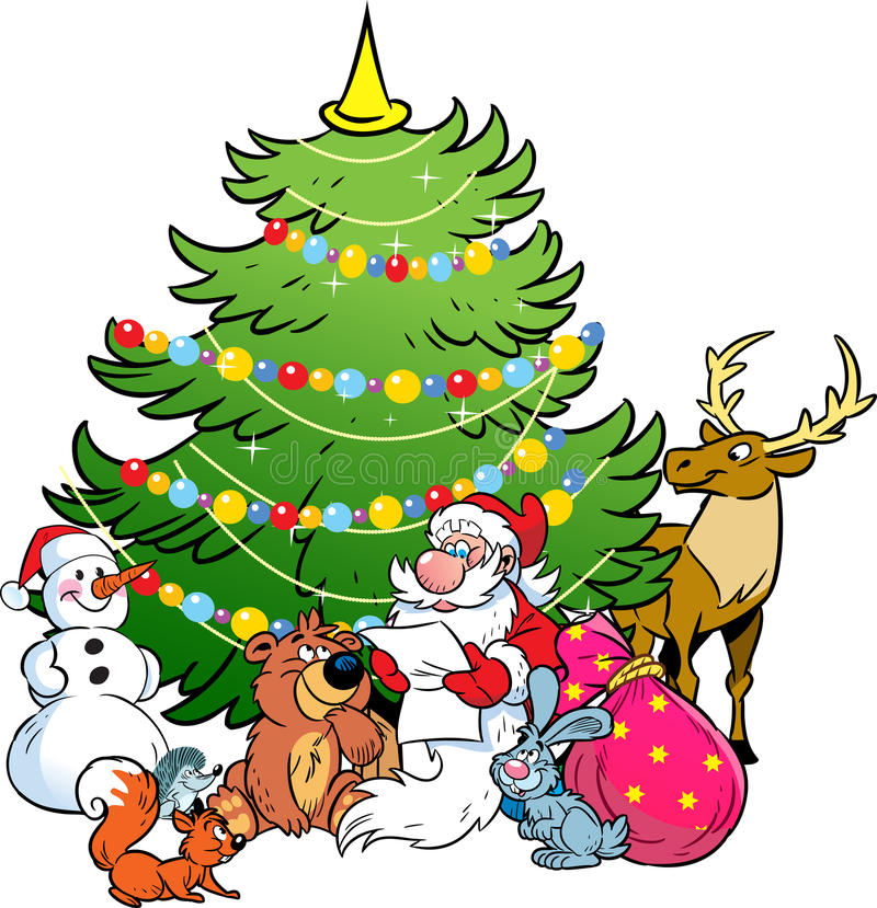 Santa Claus and the animals of the forest royalty free illustration