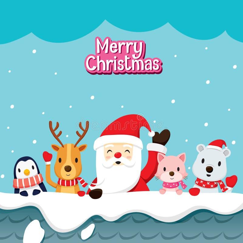 Santa Claus And Animals On Roof stock illustratie