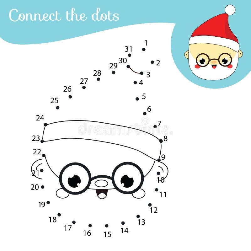Santa Claus Anslut punkterna efter nummer i utbildningsspelet Julaktivitet för barn och småbarn Nyår pappa Frost royaltyfri illustrationer