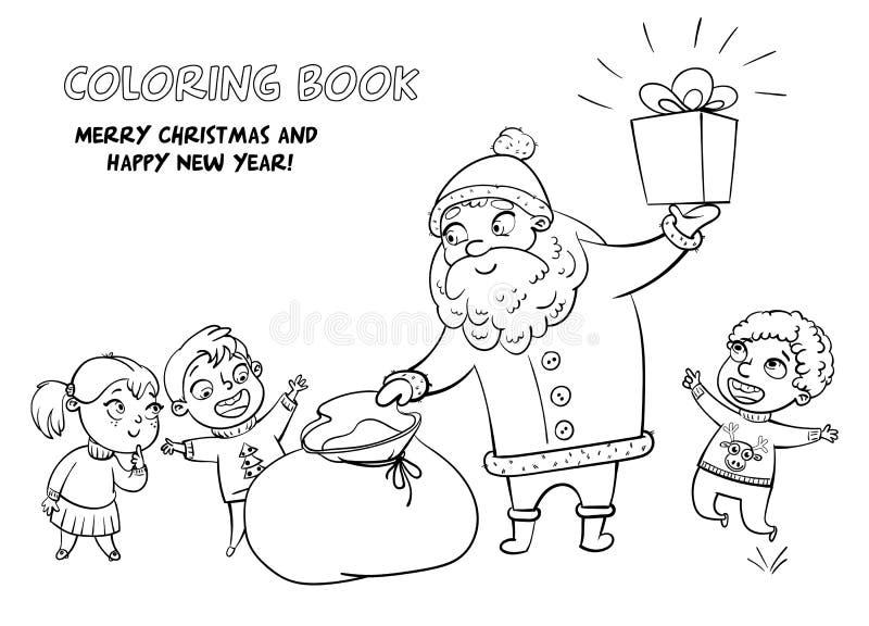 Santa Claus apporte des cadeaux aux enfants illustration de vecteur