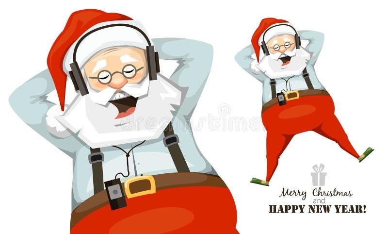 Santa Claus appréciant la musique sur des écouteurs illustration de vecteur