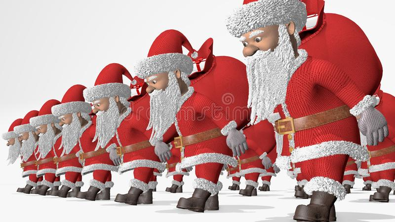 Santa Claus army carries bags of gifts. Merry Christmas and Happy New Year 2020 animation. Seamless loop stock illustration