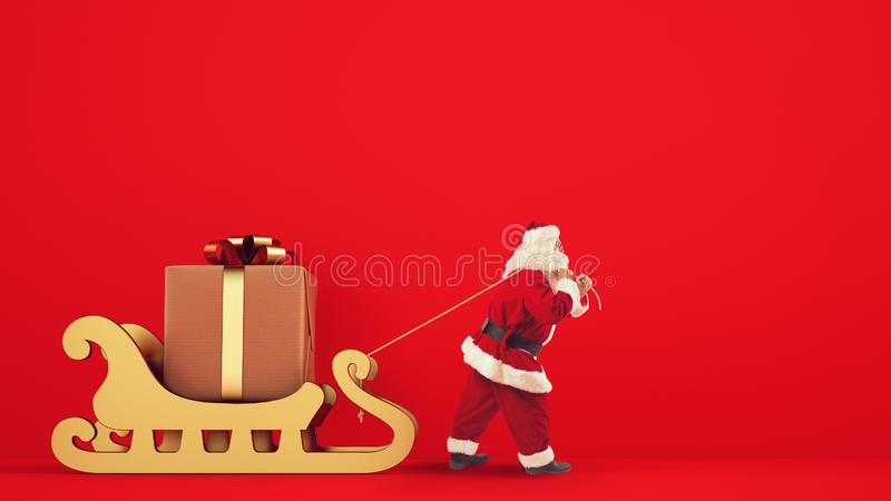 Santa Claus drags a big gift with a golden sleigh on a red background stock image