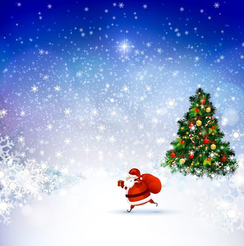 Santa Claus auf der Winterlandschaft stock abbildung