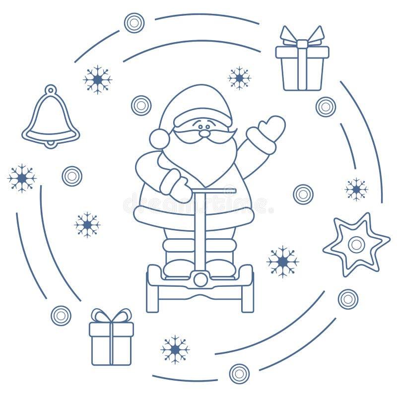 Santa Claus auf segway, Geschenke, Glocke, Lebkuchen stock abbildung