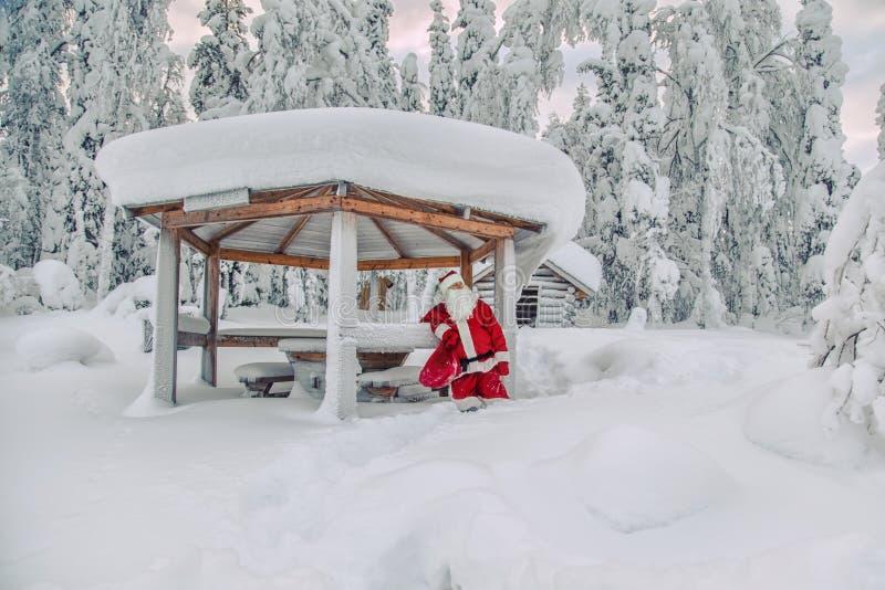 Santa Claus autentica in Lapponia fotografia stock libera da diritti