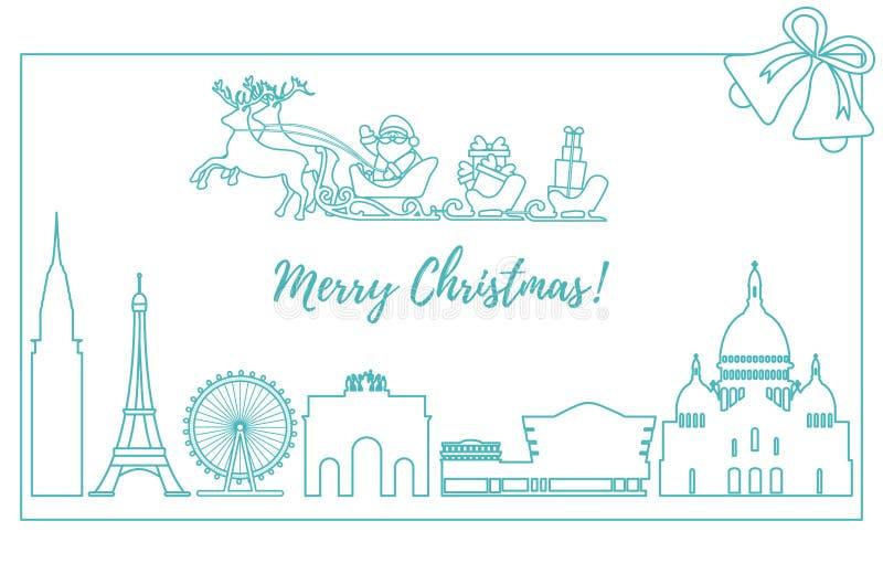 Santa Claus avec des cadeaux de Noël dans le traîneau avec des rennes au-dessus des bâtiments et des constructions célèbres de di illustration stock
