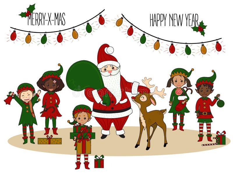 Santa Claus avec des elfes et des cerfs communs Carte de Noël illustration stock