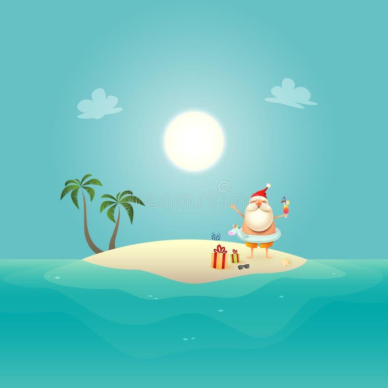 Santa Claus avec l'anneau de bain de licorne célèbrent l'été à l'île arénacée - fond de Noël en juin illustration libre de droits