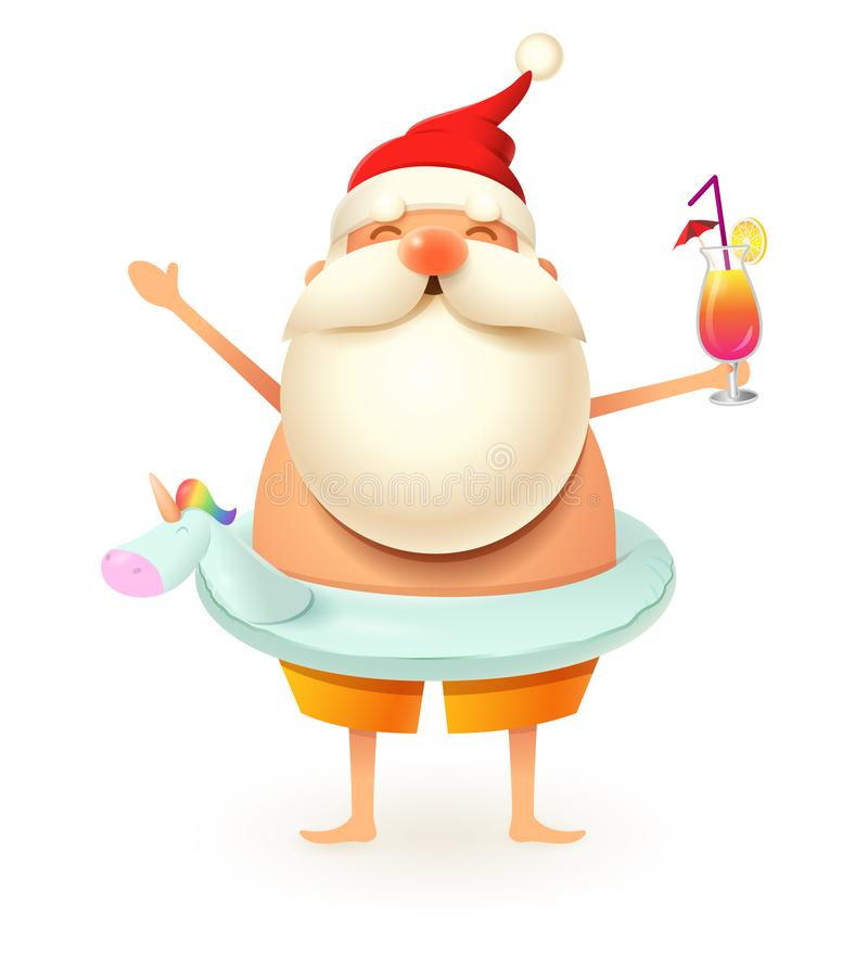 Santa Claus avec l'anneau gonflable de bain de licorne célèbrent l'été - d'isolement sur le fond blanc illustration de vecteur