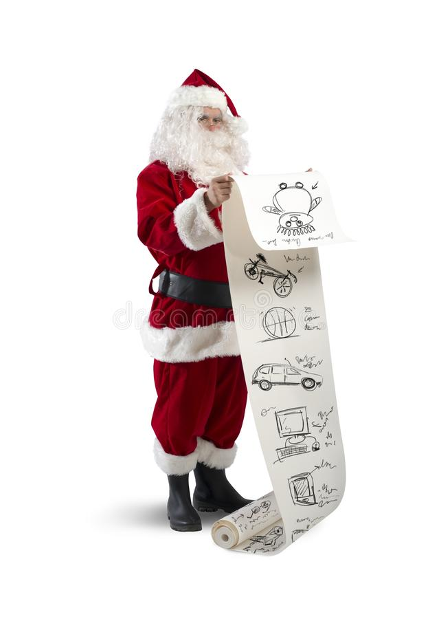 Santa Claus avec la liste de cadeaux images libres de droits