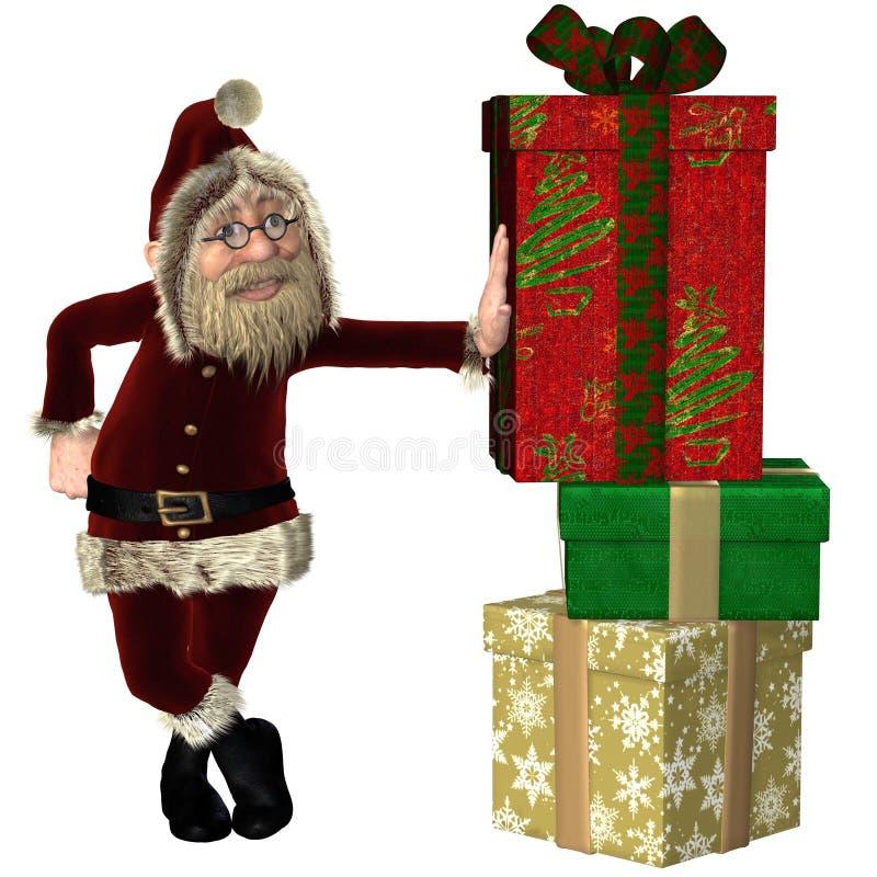 Santa Claus avec la pile des cadeaux de Noël