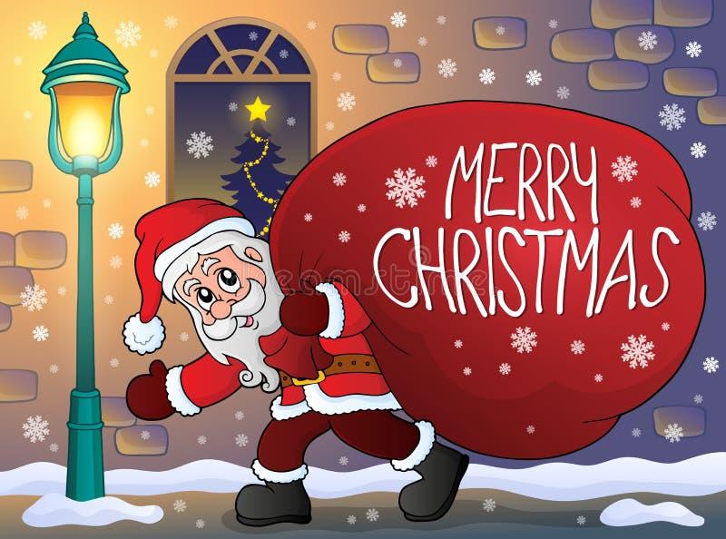 Santa Claus avec le grand thème 3 de sac de cadeau illustration libre de droits
