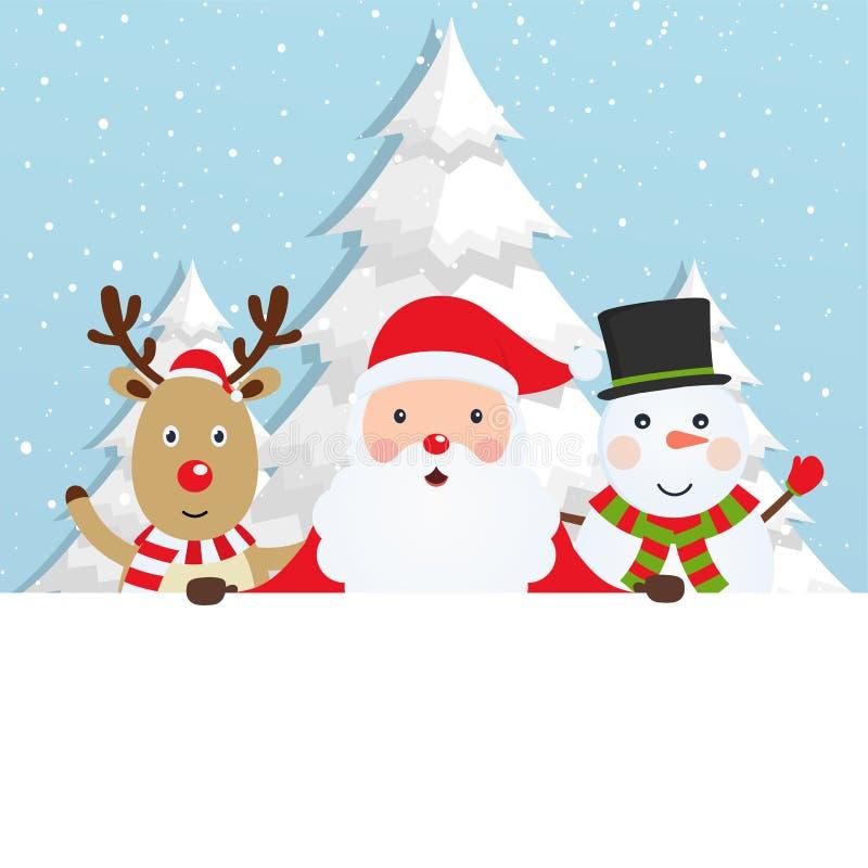Santa Claus avec le renne et un bonhomme de neige illustration de vecteur