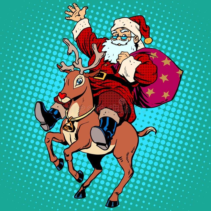 Santa Claus avec le renne Rudolf de Noël de cadeaux illustration stock