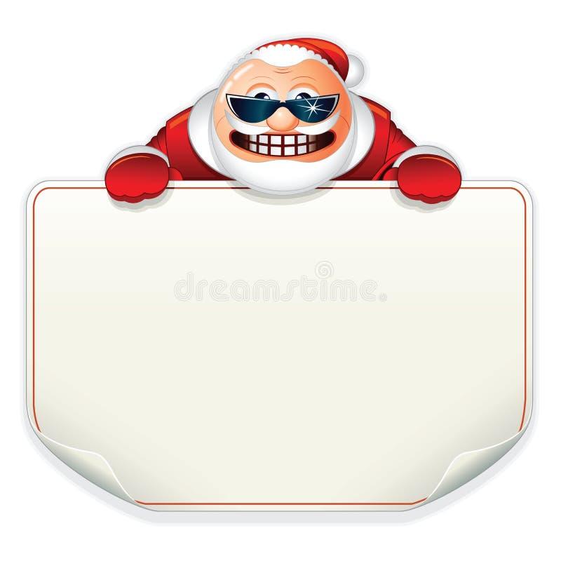 Santa Claus avec le signe de papier blanc illustration de vecteur